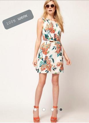 100% шелк красивенное платье из лёгкого струящего шелка