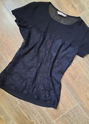 Шифоновая блузка футболка с кружевом