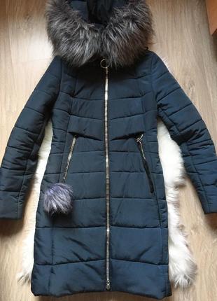 Зимнее пальто, куртка, цвет бутылка