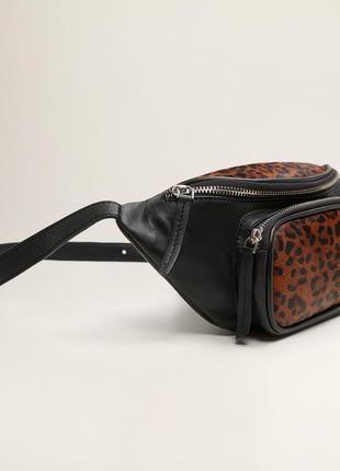 Новая поясная леопардовая сумка бананка натуральная кожа