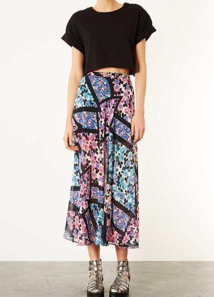 Sale -50%! длинная шифоновая юбка в цветочный принт topshop