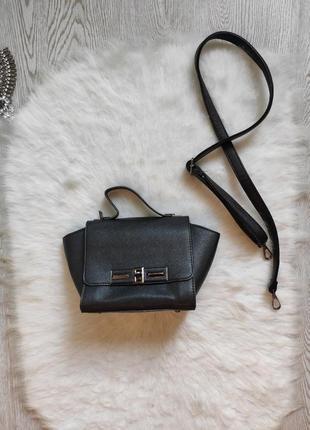 Черная маленькая средняя кожаная сумка с коротким и длинным ремешком ремнем