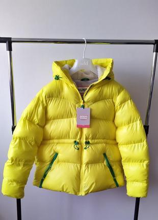 Новый пуховик оверсайз hunter яркая куртка зима жёлтая