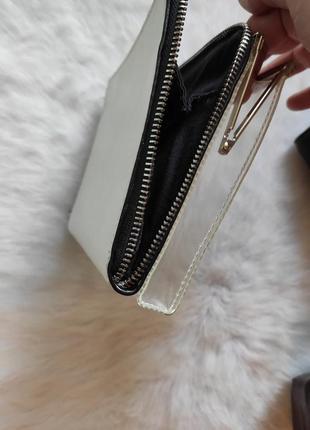 Белый кожаный прозрачный двойной клатч маленькая сумка кошелек zara на молнии замке