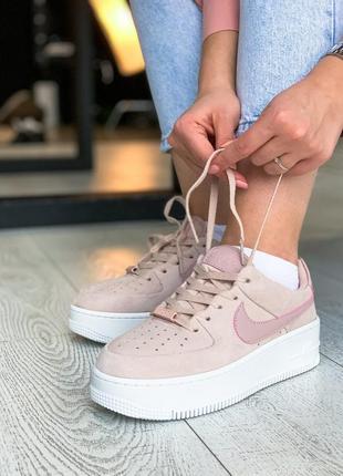Nike air force 1 sage platform pink  🔺женские кроссовки найк еир форс