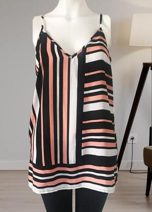 Блузка на бретелях,блузка в полоску,майка шифоновая