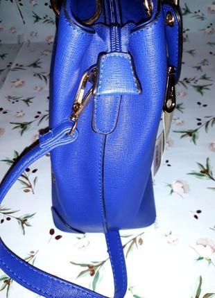 🎁1+1=3 синяя вместительная кожаная сумка tw simply, новая с биркой2 фото