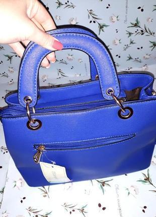 🎁1+1=3 синяя вместительная кожаная сумка tw simply, новая с биркой3 фото