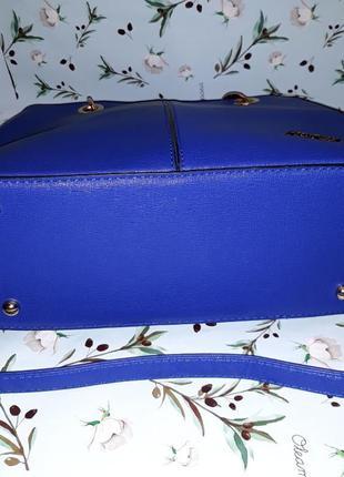 🎁1+1=3 синяя вместительная кожаная сумка tw simply, новая с биркой5 фото