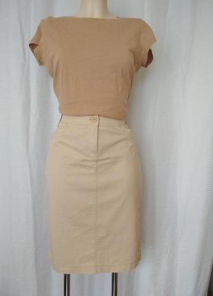 Базовая юбка карандаш ,100% хлопок, бежевая,светло песочного оттенка