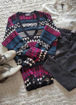 Шикарный макси свитер,накидка,кардиган с модным принтом