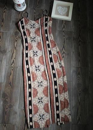 Длинное винтажное платье из жатой ткани на бретелях с принтом в стиле бохо этно