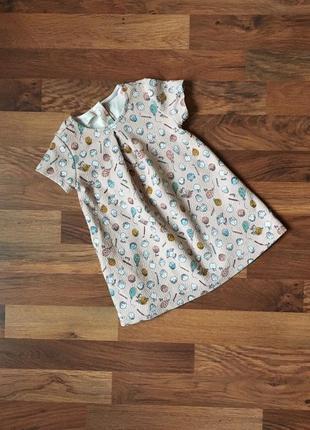 Прелестное фактурное платьице в принт-иороженки
