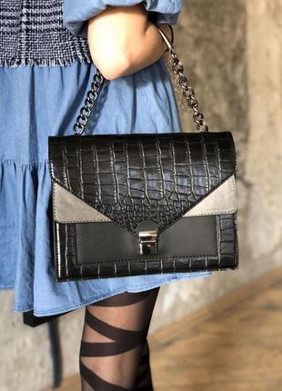 Невелика жіноча сумка клатч додатковий ремінець ланцюжок екошкіра різні кольори принти