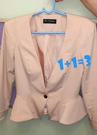 🎁1+1=3 фирменный нарядный персиковый пиджак miss selfridge, размер 44 - 46