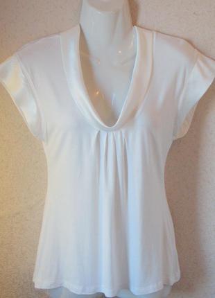 H&m белая блузка с отложным атласным воротничком р 8-10