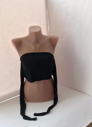 Стильный чёрный топ без рукавов с завязками3 фото