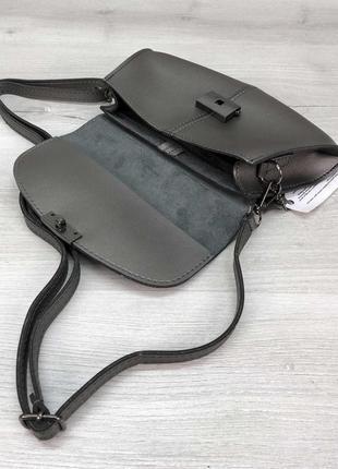Сумка 2в1: сумочка на пояс, клатч на длинном ремешке, поясная сумка металлик4 фото