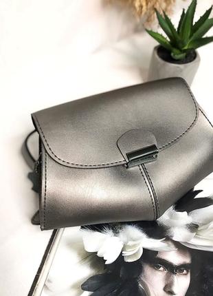 Сумка 2в1: сумочка на пояс, клатч на длинном ремешке, поясная сумка металлик5 фото