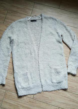 Кардиган пушистый травка свитер теплый