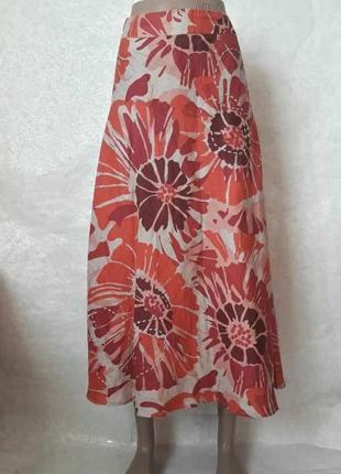 Фирменная george летняя юбка в пол со 100 % льна в красочный цветочный принт, размер 5хл