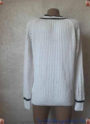 Фирменный tu белоснежный свитер в синюю полоску в оригинальную вязку, размер м-л2 фото