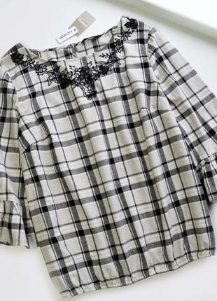 Хлопковая  блуза с вышивкой цветы и красивыми рукавами