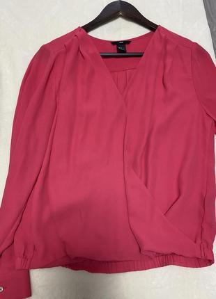 Малиновая блуза h&m