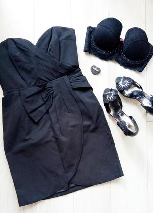 Классическое чёрное коктейльное платье-бюстье на корпоратив h&m #розвантажуюсь