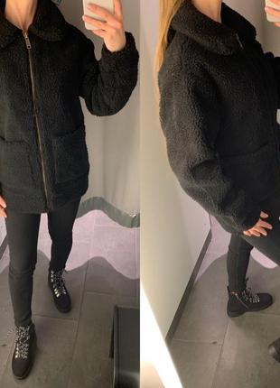 Чёрная плюшевая шуба шерпа меховая куртка amisu