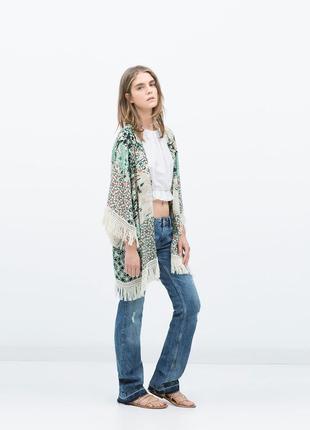 Zara кимоно пляжная туника накидка с бахромой