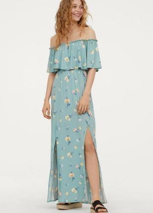 #розвантажуюсь классное платье макси в цветочный принт с открытыми плечами h&m s/l