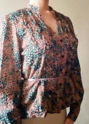 Хлопковая рубашка в японском стиле цветочный принт орнамент хлопок