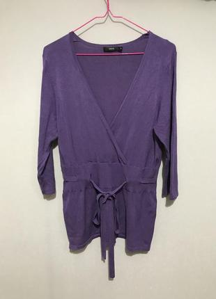Фиолетовая кофта с поясом, кулиска на запах