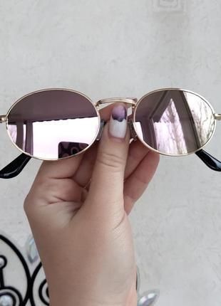 Зеркальные розовые овальные очки