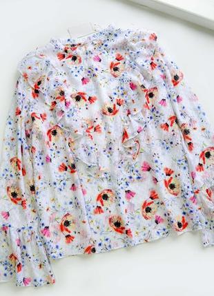 Красивая блуза в цветы с ободками длинный рукав
