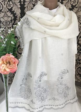 Люксовый ♥️😎♥️ большой льняной шарф палантин gerard darel.5 фото
