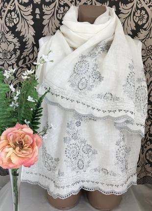 Люксовый ♥️😎♥️ большой льняной шарф палантин gerard darel.6 фото