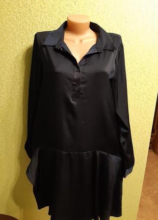 Атласное платье рубашка