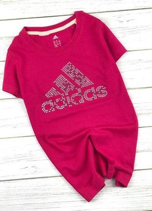 Футболка с камушками adidas big logo розовая