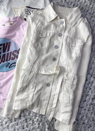 Льняной пиджак, жакет tom tailor с поясом