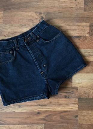 Стильные темно-синий джинсовые шорты1 фото