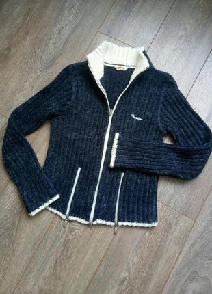 Синяя вязанная кофта свитер на метал молнии с белым кантом pakko