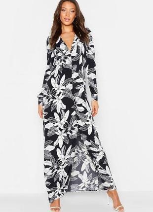 Boohoo. платье-рубашка в пол на пуговицах с принтом. размер 46-48 новое.