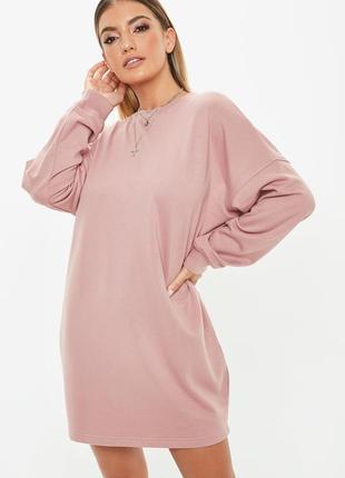 Платье толстовка oversize из хлопка пудрового цвета