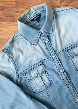 Джинсовая голубая рубашка2 фото