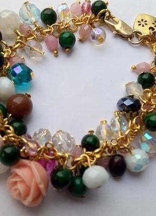 Красивый браслет,стекло (aurora borealis ),чешское стекло . европа