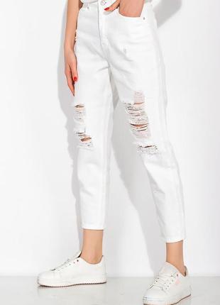 Стильные рваные джинсы mom fit