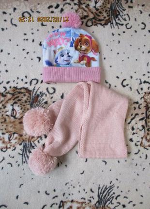 Яркая демисезонная шапка щенячий патруль + шарф 2-4 года