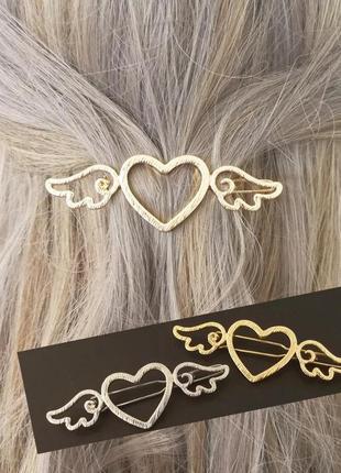Заколка для волос, сердце с крыльями